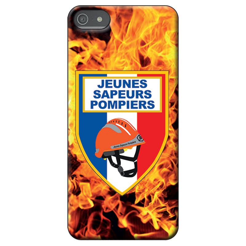 Coque téléphone Pompiers - Ecusson JSP - casque orange